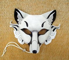 Inari Fox Leather Mask ...original hand made leather Japanese fox mask. $140.00, via Etsy.
