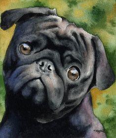BLACK PUG Dog Signed Art Print by Artist DJ Rogers