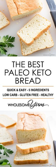 Easy Paleo Keto Bread Recipe - 5 Ingredients - If you want to know how to make the best paleo keto bread recipe, this is it! It's quick & easy to make with just 5 basic ingredients.