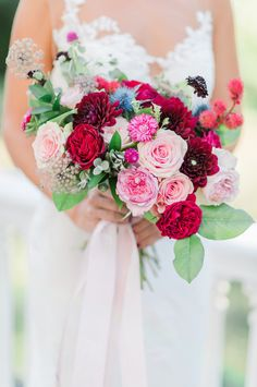 Pink and red wedding bouquet  #weddingbouquet @weddingchicks