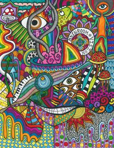Mind Tricks And Rabbit Holes by Liquid-Mushroom on DeviantArt Trippy Drawings, Psychedelic Drawings, Colorful Drawings, Art Drawings, Colourful Art, Hippie Painting, Trippy Painting, Pintura Hippie, Trippy Mushrooms
