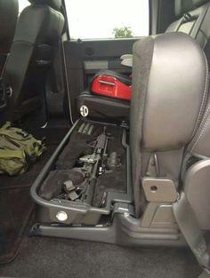 Gun Safe Under the Seat. I Don't need an AR but Preferably for the Rifle and my Hand Gun. Hidden Gun Storage, Weapon Storage, Rifles, Truck Storage, Seat Storage, Gun Cases, Chevrolet Blazer, Home Defense, Cool Guns