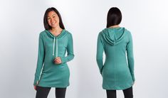 Betabrand Teal Cowl Neck Tunic two up studio shot