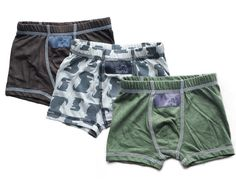 Boys Boxer Briefs - 3 Pack (Brown, Olive