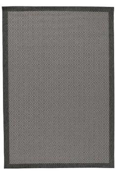 Ellos Home Matta Gåsöga 200x290 cm Svart, Grå, Beige - Slätvävda mattor | Ellos Mobile