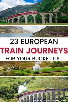 Travel Europe by train in this inspirational article which includes information about 23 of the most scenic European train journeys. Includes tips and practical information to help you plan your perfect train trip #traintravel #europe European Train Travel, European Road Trip, European Vacation, European Destination, Norway Travel, Travel Europe, Spain Travel, Travel Destinations, Budget Travel