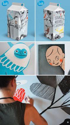 Packaging para bricks de leche. Ilustraciones de: Isabelle Arsenault, Gérard DuBoisyPascal Blanchet.