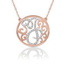 Diamond Lace Initial Pendant Necklace