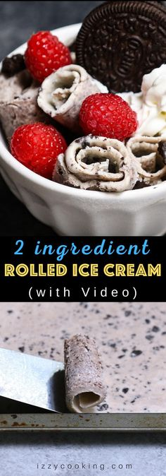 "This homemade Rolled Ice Cream has the sweet and milky frozen dessert rolled up in a Thai ice cream style. It's made with 2 basic ingredients ""stir-fried"" on a baking sheet at home, and then topped with your favorite flavors like Oreos, whipped cream, or raspberries. It tastes just like the store-bought roll-up ice cream, and no special machine required. This is sure to be a big crowd-pleaser! #RolledIceCream #ThaiRolledIceCream #ThaiIceCream"