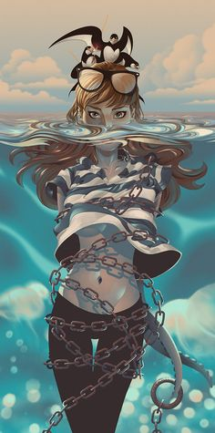 """Island"" - Alex Arizmendi {chained female tentacles underwater woman digital illustration}"