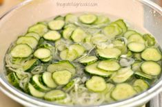 Bread and Butter Pickles / The Grateful Girl Cooks! Homemade Bread And Butter Pickles Recipe, Bread N Butter Pickle Recipe, Bread & Butter Pickles, Cooking Trout, Canning Pickles, Vegetable Prep, Vegetarian Recipes, Cooking Recipes, Cooking Measurements