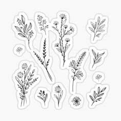 Flower stickers featuring millions of original designs created by independent artists. White or transparent. Bubble Stickers, Cool Stickers, Printable Stickers, Laptop Stickers, Black And White Doodle, Black And White Stickers, Black And White Flowers, Bullet Journal Books, Homemade Stickers