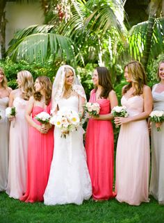Amsale bridesmaid dresses  in coral, blush and champagne