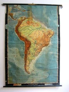 Beautiful vintage map of South America in German. €80.00, via Etsy.