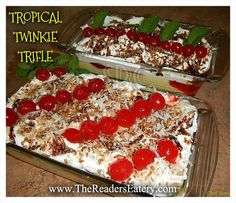 """Tropical Twinkie Trifle *NO BAKE!~~ Request to Post again! Ingredients: 1 - 20 oz can Crushed Pineapple (drained) 1 box cakes) - """"Twinkies"""" snack cakes 2 boxes oz) Instant Banana Pudding 1 (Cool Whip Parfait) Twinkie Desserts, Twinkie Cake, Köstliche Desserts, Delicious Desserts, Dessert Recipes, Pudding Desserts, Hostess Twinkies, Summer Desserts, Holiday Desserts"""