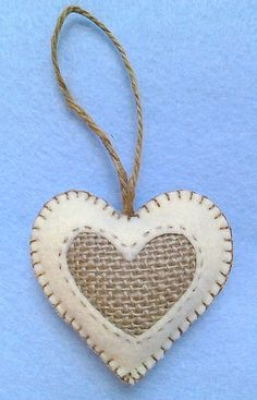Handmade felt and burlap hearts set of Christmas Tree Ornaments, Valentine's Hearts Felt Christmas Decorations, Burlap Christmas, Felt Christmas Ornaments, Heart Decorations, Christmas Sewing, Christmas Tree, Valentine Heart, Valentine Crafts, Valentines
