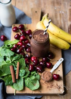 Dessert smoothie - Chocolate Covered Cherry Green Smoothie recipe | SimpleGreenSmoothies.com | healthy recipe ideas @xhealthyrecipex |