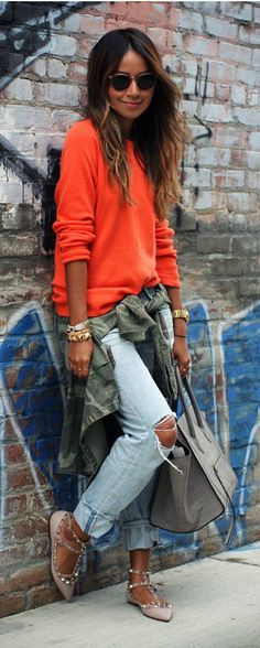 Rips & Studs. By Sincerely Jules. orange oversized sweater, destroyed jeans, Rockstud Leather flats #streetstyle