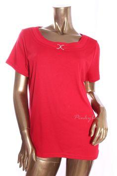 KAREN SCOTT New Womens $29 Red Embellished Front Short Sleeve Knit Top Size L #KarenScott #KnitTop #Casual