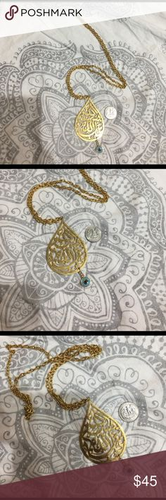 Large tear drop necklace with Arabic writing Beautiful, long gold necklace. Tear drop shape with Arabic calligraphy and an evil eye charm at the end. Perfect quality. Bought but never wore. Chain is 34 inches long. Jewelry Necklaces