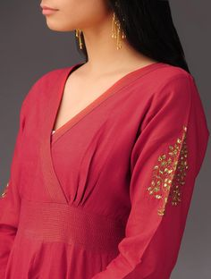 Buy Deep Red Chanderi Kalidar Kurta with Gold Zari Stitching Detail Women Kurtas Festive Moments apparel and potlis brocade gota patti Online at Jaypore.com