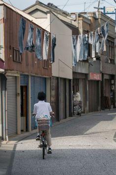 Kurashiki Kojima Jeans Street is known as the mecca of Japanese denim, Kurashiki city, Okayama, Japan. Okayama, Overseas Travel, Patchwork Jeans, Japanese Denim, Aesthetic Pictures, Tom Ford, Blue Jeans, Indigo, Mecca