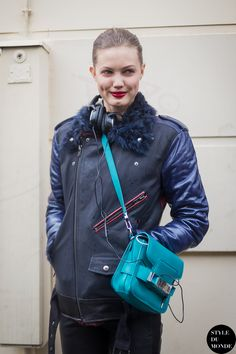Haute Couture SS 2014 Street Style: Lindsey Wixson - STYLE DU MONDE |  7 Feb '14 Lindsey Wixson, an American fashion model, wearing a BLK DNM Leather Project X biker leather jacket customized by herself and a Proenza Schouler PS11 Classic leather shoulder bag.
