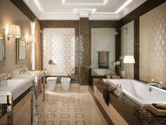 mosaïque marron et brillante dans la salle de bains avec un carrelage beige