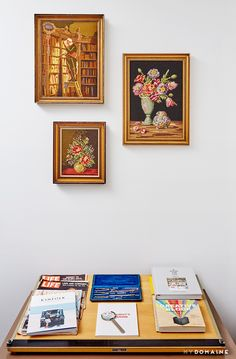Framed art forms small gallery wall