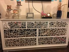 DIY: Mirrored Dresser I wanted to replace all my dark cherry furniture with white, but this is a cheaper/elegant idea!