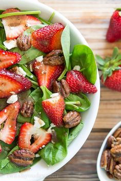 Strawberry Spinach Salad with Candied Pecans- Candied Walnuts instead with a bit of agave nectar. Feta instead of goat cheese.YUM