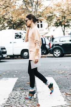 An Editor-Approved Way to Wear Color-Block Boots via @WhoWhatWear