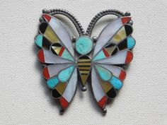 Vintage Large Zuni Inlay Butterfly Pin ~ Turquoise, Jet, MOP, Coral