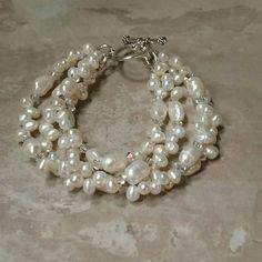 Elegance Freshwater Pearl and Swarovski Crystal 4 Strand Bracelet by tbyrddesigns on Etsy