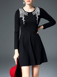 #AdoreWe #StyleWe Dresses - D.FANNI Black A-line Long Sleeve Cotton-blend Mini Dress - AdoreWe.net