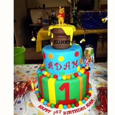 Winnie the Pooh Cake - LOVE the honey pot!  would love to try and do this!!!!
