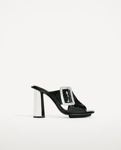 Image 2 of EMBOSSED LEATHER HIGH HEEL MULES from Zara