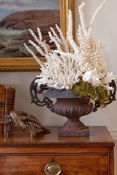 Coastal living - this could be a way to start my French Coastal theme - the urn frenchy and the coral coastan! Coastal Style, Coastal Living, Coastal Decor, Estilo Tropical, Vibeke Design, Beach House Decor, Home Decor, Shell Art, Beach Cottages