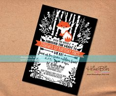 Woodland Fox Personalized Birthday or Baby Shower Invitation - Digital File Only #woodland #fox #forest #floral #handrawn #inked #printable #personalized #baby #shower #invitation #woods #honeybops #birch #trees #birthday #invite #custom #event #digital #announcement