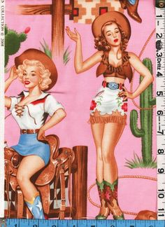 Fabric Henry BACK IN THE SADDLE pinup Cowgirl retro 50s PINK | eBay