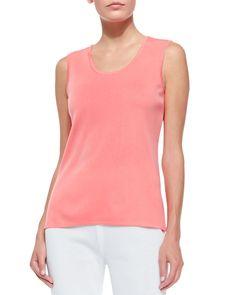 Scoop-Neck Knit Tank, Women's, Size: 2X, Coral - Misook