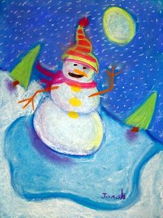 Snowmen at Night-read the story, complete drawing on blue construction paper with chalk pastels
