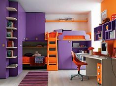 Beautiful Small Modern Bedroom For Teen Girls In Purple Color Schemes Interior Decor - Decorteen