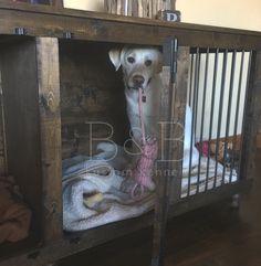 The Double Doggie Den™ Indoor Rustic Dog Kennel For Two Wooden Dog Crate, Wooden Dog Kennels, Dog Crates, Dog Crate Furniture, Two Dogs, Wooden Projects, Diy Garage, Puppies, Doggie Den
