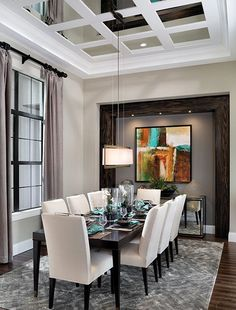 A mirrored ceiling can make a striking impact in a plain room, adding drama to an otherwise plain room. And you don't have to go to the expensive of having large mirrors installed, but rather apply smaller mirrors to the ceiling and frame these with strips.