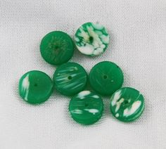 Green Kancamba Molded African Trade Beads from Estatebeads.com