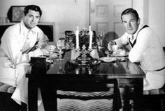 """Cary Grant and Randolph Scott at their home in Malibu...Ahem """"Bachelor's Hall."""" ;)"""