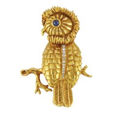 Gold, Cabochon Sapphire and Diamond Owl Brooch, Tiffany & Co. - Doyle