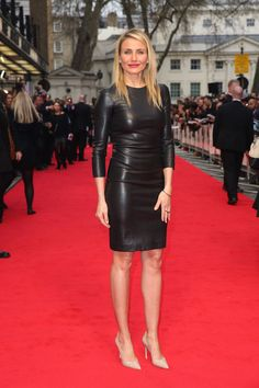 The Other Woman | Cameron Diaz | Champion News I caught a glimpse of Cameron Diaz in this amazing black leather dress. Cameron Diaz is making a habit of flirty little black numbers.