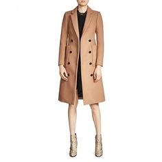 --evaChic--This Maje Galerie Wool & Cashmere Double-Breasted Coat is a sleek silhouette with eye-catching details such as the patch pockets and the contrast button front. The lapels are slim and the style is tailored, ideal for all-day dress-up occasions. It works as a business and off-duty look, mixing well with all your cozy winter wardrobe basics.          http://www.evachic.com/product/maje-galerie-wool-cashmere-double-breasted-coat/